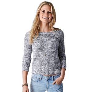 American Eagle Grey Marled Cable Knit Sweater